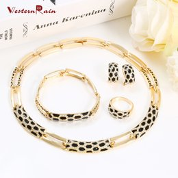 Wholesale European Necklace Earring Sets - WesternRain Top European Classic Gorgeous Women Gold Plated Jewelry Set Black Sexy Lady Accessories for Party A074B