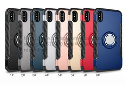 Wholesale Armor Hybrid Shock Proof - Hybrid TPU+PC 2-in-1 Armor Case Shock-Proof Cases 360 Ring Stand Holder Magnetic Back Cover For iPhone X Samsung S8 Plus S7 With Package