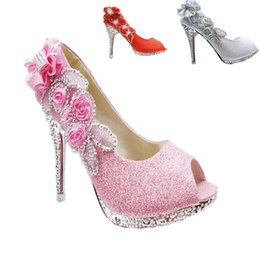 Wholesale Beaded Flat Dress Shoes - 2016 Sparkling Open Toes Wedding Shoes Piscine Mouth Fish Flower Beaded Shallow High Heel Pink Silver Gold Red Bridal Shoe for Dresses