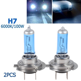 Wholesale Xenon Lights H7 - 1 pair of H7 100W Super White 6000K Xenon Halogen light bulb lamp Vihicle Headlight CEC_485