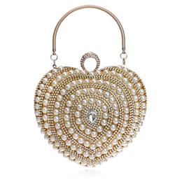 Wholesale Dress Evening Clutch - Fashion beautiful heart shaped woman Luxury dinner clutch handbag wedding party dress pearl diamond rhinestone beaded evening bag