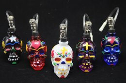 Wholesale Unique Hookah Pipes - DHL Free Colorful Skull Head Glass Bong Popular Glass Hookah Pipe Durable Mini Shisha Tobacco Smoking Cheap Water Pipe Unique Design
