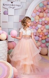 Wholesale girls tull dresses - 2016 New Fashion Two Piece Flower Girls Dresses Top Lace Cape Sleeve Blush Pink Tull Girls Pageant Gown First Communion Dresses Custom Cheap