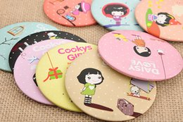 Wholesale Cartoon Veins - free shiping ortable makeup mirror portable mirror Wholesale Korea Creative cute cartoon folding dressing beauty of small round mirror