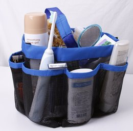 Wholesale Compressed Storage Bags - 8 Pocket Shower Caddy Oxford Bathroom Hanging Storage Bag Home Makeup Organizer Holder Hosekeeping Accessories PX-B01