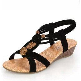 Wholesale Women Denim Wedges - Summer Fashion White Shoes Flat Heel Flip Gladiator Brief Herringbone Flip-flop Sandals Flat Women's Shoes