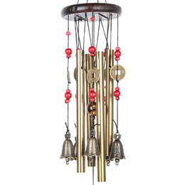 Wholesale Wood Home Decoration - Chinese Traditional Amazing 4 Tubes 5 Bells Bronze Yard Garden Outdoor Living Wind Chimes 60cm,Best gift