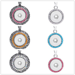 Wholesale Button Jewerly - 6 colors NOOSA Colors metal Ginger Snap Button Pendants Necklace with Crystal Jewelry Interchangeable Jewerly A045