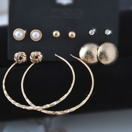 Wholesale Large Loop Earrings - NEW mixed style golden Earring Sets 6 pairs Pearl Crystal stud earrings large circle Big Hoop Loop Earrings Cheap and Fine Wedding Jewelry