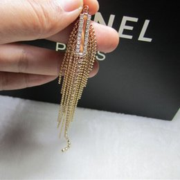 Wholesale Tassel Pearl Mother - Europe and the United States fine long tassel exaggerated one bar all-match Gold Earrings