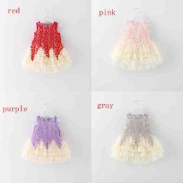 Wholesale Bebe Gown - Summer Baby Girls Sleeveless Lace Floral Cake Layer Party Princess Tutu Kids Dress vestidos roupas de bebe 4color EMS or DHL