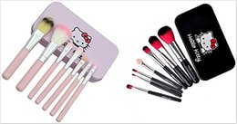 Wholesale Cases Make - Hello kitty Make Up Cosmetic Brush Kit 7pcs Makeup Brushes Pink black iron Case Toiletry beauty hello Kitty brush set DHL FREE shipping