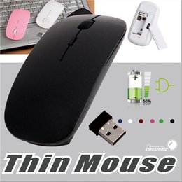 Wholesale Thin Computer Mouse - Ultra Thin Usb Wireless Mouse Optical 2.4GHz Wireless Portable Optical Mouse Super Speed Slim Computer Mouse With Retail Package