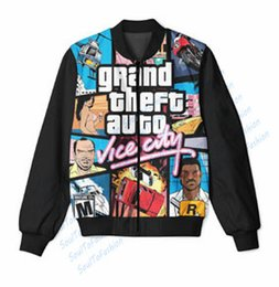 Wholesale Grand Falls - Fall-2 colors Real USA Size Custom Made Grand Theft Autog Vice City 3D Sublimation Print Zipper Up Jacket