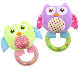 Wholesale Bell Plush - New baby Owl Rattle Hand Shake mobile ring bell Plush toy Early Educational Squeaker Soft Baby Toys