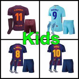 Wholesale Children Boy Shorts - 2017 2018 kids kit child sets SUAREZ Jerseys Camisas O.DEMBELE Messi INIESTA PIQUE Home away Soccer Jersey 17 18 Camiseta de futbol BOYS