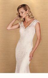Wholesale Paloma Blanca Mermaid - 2016 Lace Mermaid Wedding Dress With Florals Applique Cap Sleeves V Neckline Backless 4652 Paloma Blanca Bridal Gown Abiti Da Sposa Sep