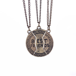 Wholesale Statement Necklace Parts - Statement Jewelry Vintage Bronze Broken Friendship Coin Parts 3 Best Friend Necklaces & Pendants Jewelry Share With Your Friends