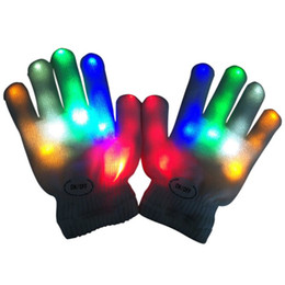 Wholesale New Led Rainbow Light - Wholesale- 7 Colors New Kids Fingertip LED Gloves Rainbow Flash Light Glow Stick Gloves Mittens HT