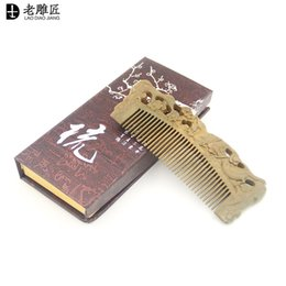 Wholesale Pure Sandalwood - 100% pure natural green sandalwood antic-sta comb manufacturers wholesale antic-static comb head massage health care comb