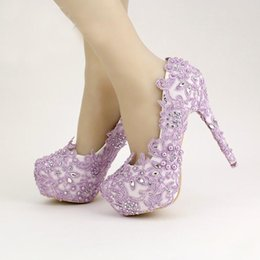 Wholesale Lace Wedding Shoes For Bride - Lavender Bride Shoes High Heel Platform Shoes with Lace Flower Rhinestone Wedding Shoes Spring Women Pumps for Prom Event