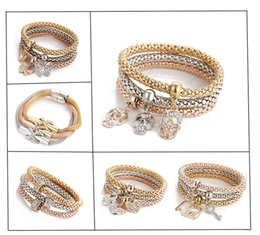 Wholesale Bracelets Jewerly Boxes - 3pcs Lot Crystal Elastic Charms Bracelet Multilayer Stretched Chain Bangles Heart Butterfly Key Lock Gold Plated Jewerly Pulseira Feminina