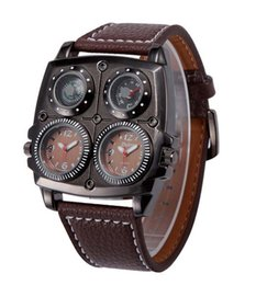 Wholesale Watch Time Compass Thermometer - Oulm Leather Men Dual Time Military Compass Thermometer Sport Quartz Wrist Watch