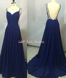 Wholesale Satin Evning Dress - Sexy Royal Blue Chiffon Evening Dresses with Spaghetti Straps Backless Long Prom Dresses Evning Wear Cheap