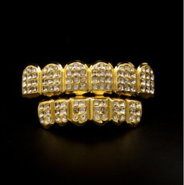 Wholesale Row White Diamond - White Gold ICED OUT CZ Diamonds Teeth Top Silver Tone 3 Three Rows GRILL Set JOKER Tooth Bling Grillz