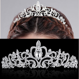 2019 cintas para la cabeza de compromiso Nueva joyería del banquete de boda Cristales Tiaras nupciales para las mujeres Tiara Crown Headband Hair Accessories Fashion Jewelry de lujo cintas para la cabeza de compromiso baratos