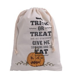Wholesale Halloween Lantern Bags - Cotton Canvas Drawstring Treat Bag Pumpkin Lantern Halloween Party Favor Halloween Trick Or Treat Bags Halloween Bag Vintage