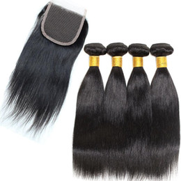 Wholesale Virgin Hair Products - 7A Grade Straight Brazilian Virgin Hair With Closure Brazilian Hair Products With Closure 4 Bundles 8A Brazilian Straight Hair With Closure