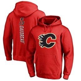 Wholesale Flame Numbers - 17-18 NHL CALGARY FLAMES hoodies 13 Johnny Gaudreau any custom Name and Number Player sweatshirts