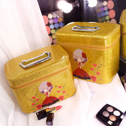 Wholesale Glitter Large - double set cosmetic bags sets large and small size luxury glitter colors water proof morden free shipping