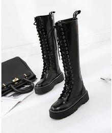 Wholesale Motorcycle Waist Belt - 2017 British style high-heeled shoes high waist boots side zipper kneeling Martin boots belt locomotive boots