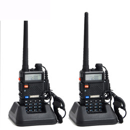 Wholesale Talkie Walkie Sets Two - Wholesale-2pcs Original Baofeng UV 5R Portable Dual band VHF UHF two way radio 136-174 400-520 ham cb radio uv-5r Walkie Talkie 2 pcs  set