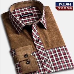 Wholesale 38 Sleeve Shirt - Wholesale-Mens Thick Miter Brushed Plaid Long Sleeve Business Casual Dress Shirt 38-44 Dress shirt-19