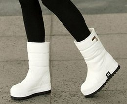 Wholesale Korean Flats Boots - 2016 new non-slip waterproof shoes muffin heavy-bottomed boots Korean version of the white snow boots women boots in tube