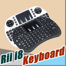 Wholesale multi media keyboards - Wireless Keyboard rii i8 keyboards Fly Air Mouse Multi-Media Remote Control Touchpad Handheld With Battery for TV BOX Android Mini PC B-FS