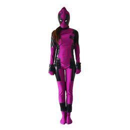 Wholesale custom deadpool - purple and black Deadpool Superhero Costume Halloween Party Cosplay Zentai Suit