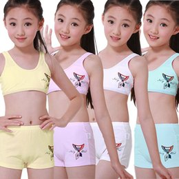 Wholesale Girls Camisole Tops - JUNIOR Girls Underwear set including training Bras+boxer Children Sports Camisole Undies Underwear Vest Student Cosy Undies set(8 to 15Y