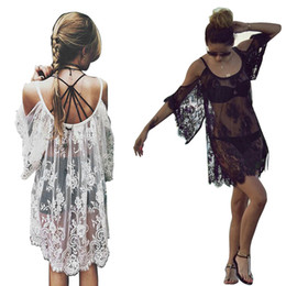 Wholesale White Beachwear Dresses - Women Summer Swimsuit Beachwear Bikini Beach Cover ups Vestidos Swimwears Floral Sexy Lace Crochet Mini Tunic Dress 2506026