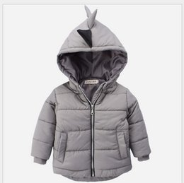 Wholesale Korean Children Boys Jacket - 2018 Fall Winter Boys Dinosaur Modeling Warm Coat For Children Thicken Cotton Outwear Kids Korean Style Coats Boy Hooded Down Jacket Coats