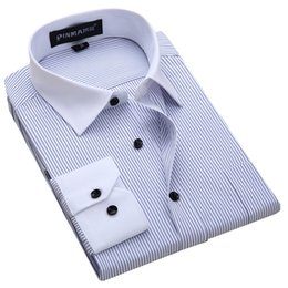 Wholesale 5xl Tall - Wholesale-New 2016 Men's Big-Tall Striped Dress Shirts White Spread Collar Patchwork Long Sleeve Classic-fit Shirt (Big sizes Available)