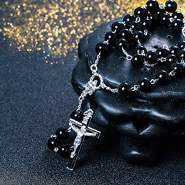 Wholesale David Beckham - New Necklace Black Bead Jesus Cross Chain David Beckham Rosary Pendant Necklace Hip hop jewelry