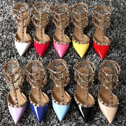 Wholesale Cheap Heels Shoes For Women - New Arrival High Heels Pointed Toes Summer Sandals For Women Buckle Strap Rivets Heel Cheap Wedding Bridal Shoes