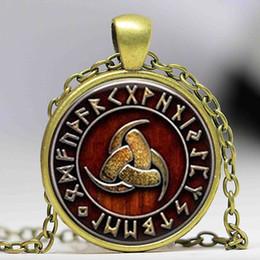 Wholesale Odin Pendant - 1pcs Triple Horn of Odin Viking pendant jewelry Glass Cabochon Necklace
