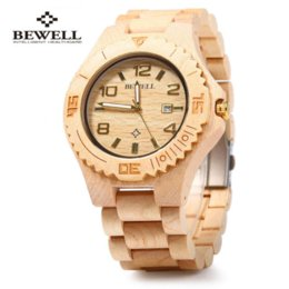 Wholesale Men Watches Bulk - Bewell ZS-W023B Wooden Quartz Watch for Men Date Display Luminous Pointers Cheap quartz bulk High Quality quartz watch manufacturers