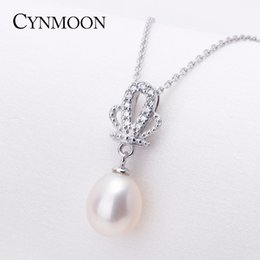 Wholesale White Pearls Buy - Panic Buying Natural Freshwater Pearl Pendant Necklace 8-9mm 925 Sterling Silver Pendant Pearl Jewelry Gift For Women