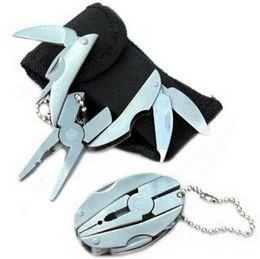 Wholesale Wholesale Keychain Knives - Folding Keychain Pocket Multi Function Tools Set Mini Pliers Knife Screwdriver Hand Tools Pliers Keyring CCA7260 100pcs